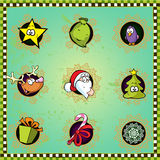 Set of Christmas icons in frame Royalty Free Stock Photography