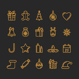 Set of Christmas Icons. Golden and Black Colours. Luxury Trendy Thin Line Design. Vector Illustration stock illustration