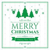 Set of christmas icons on green background Stock Photos