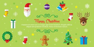 Set of christmas icons on green background Royalty Free Stock Photography