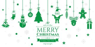 Set of christmas icons on green background Royalty Free Stock Image