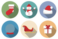 Set of Christmas icons with long shadow. Vector illustration Stock Photo