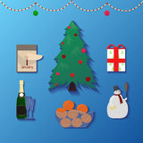 Set of Christmas icons and ornaments Royalty Free Stock Photos