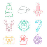 Set of Christmas icons outline. Multicolored. Isolated. Vector Stock Photography