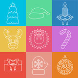 Set of Christmas icons outline. Multicolored. Vector Royalty Free Stock Images