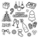 Set of Christmas icons, patches, badges, stickers, pins. Stock Photos