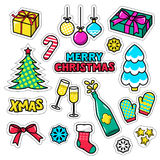 Set of Christmas icons, patches, badges, stickers, pins. Vector  xmas gifts. Royalty Free Stock Images