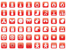 Set of Christmas icons. Set of red Christmas icons Royalty Free Stock Photography