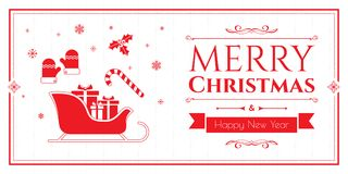 Set of christmas icons on red background Stock Photo