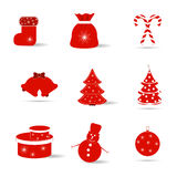 Set of Christmas icons in red and white. On a white background Royalty Free Stock Photography
