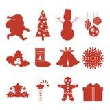 Set of Christmas icons. Silhouettes. Vector illustration. Set of Christmas icons. Santa Claus and snowman, Christmas tree stars gift balls. Silhouettes. Vector stock illustration