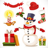 Set of Christmas icons snowman, candle, gifts Stock Photography