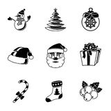 Set of CHRISTMAS icons - snowman, tree, sock, hat Royalty Free Stock Image