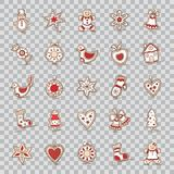 Set of Christmas icons. Star,bell,wreath, apple,bow,sock,Christmas tree, house, snowman, gingerbread, mitten, heart,cane Stock Photo