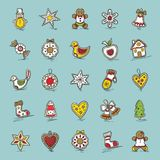 Set of Christmas icons. Star,bell,wreath, apple,bow,sock,Christmas tree, house, snowman, gingerbread, mitten, heart,cane Royalty Free Stock Photos