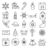 Set of Christmas icons in thin line style Royalty Free Stock Photography