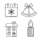 Set of Christmas icons in thin line style Stock Photos