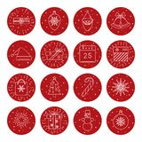 Set of Christmas icons in thin line style. Collection of thin line style Christmas icons in round frame Stock Images