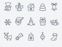 Set of 15 Christmas icons Royalty Free Stock Photos