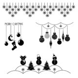 Set of christmas icons, christmas-tree decorations, patterns for greeting cards, flat vector illustration stock illustration
