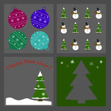 Set of Christmas icons - tree, snowman, Christmas balls. Vector Stock Photo