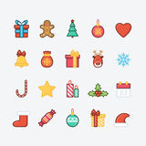 Set of Christmas Icons. Trendy Thin Line Design with Flat Elements. Royalty Free Stock Photography