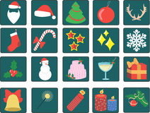 Set of Christmas icons. Set of twenty Christmas icons vector illustration
