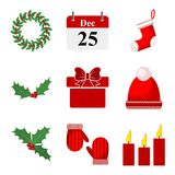 Set of Christmas icons. Vector illustration Royalty Free Stock Images