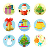 Set of 9 christmas icons on white background Stock Image