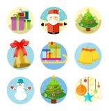 Set of 9 christmas icons on white background Stock Image