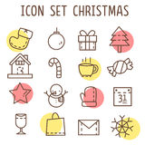 Set of christmas' icons  on white background. Set of christmas' icons that consist of sock,snowman,star,calendar,tree,candy,snow,home,letter,vine,present and etc Royalty Free Stock Images