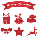 Set of Christmas icons on a white background with ribbon. Set  of Christmas icons on a white background with ribbon Royalty Free Stock Images
