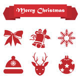 Set of Christmas icons on a white background with ribbon. Set  of Christmas icons on a white background with ribbon Royalty Free Stock Image
