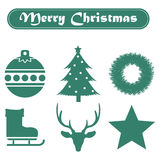 Set of Christmas icons on a white background with ribbon. Set  of Christmas icons on a white background with ribbon Stock Photography