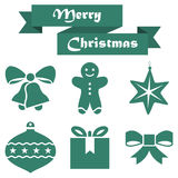 Set of Christmas icons on a white background with ribbon. Set  of Christmas icons on a white background with ribbon Royalty Free Stock Photography