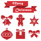 Set of Christmas icons on a white background with ribbon Stock Photos