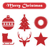 Set of Christmas icons on a white background with ribbon Stock Photo