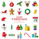 Set of christmas icons on white background. In vector illustration. Icon of bell, stocking, christmas tree, reindeer, present, Santa Claus, snowman. Template Royalty Free Stock Photo