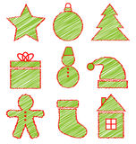 Set of Christmas icons on white Royalty Free Stock Images