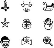 Christmas icons, thin line style -Vector Iconic Design Stock Photography