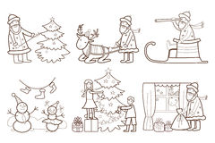 Set of Christmas illustration with Santa Claus and Royalty Free Stock Photography