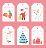 Set of Christmas illustration with snowflake. Vector New Year character on white label Royalty Free Stock Photo