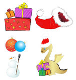 Set of Christmas illustrations. Set of cartoon style Christmas vector illustrations Stock Image