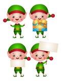 Set of xmas illustrations of an Elf or leprechaun vector illustration