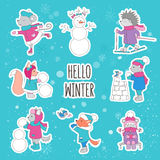 Set of Christmas illustrations. Forest animals and snowman. Skating, skiing, build a fortress, playing snowballs, drinking tea. The inscription hello winter royalty free illustration