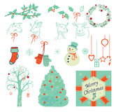 Set of Christmas illustrations, icons. Symbols isolated on whhite vector illustration eps10 Stock Photo