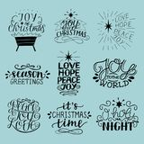 Set of 9 Christmas inscriptions with lettering O holy night. Joy, hope, love, peace. Season greetings. Card. Winter. Scrap booking stock illustration