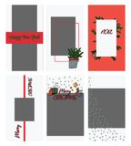 Set of christmas instagram stories templates in doodle style. Christmas and winter holiday photoframe for bloggers. royalty free illustration