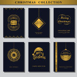 Set of Christmas invitations. Collection of Greeting card. Wishing You A Merry Christmas. Gold ornament decoration. Vintage frames. Christmas ball. Elegant New Royalty Free Stock Photo