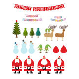 Set of Christmas items. Collection of New Years icons. Santa Cla Royalty Free Stock Photo